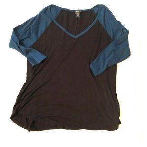 Torrid Raglan 3/4 Sleeve Top Blue/Green & Black 2x